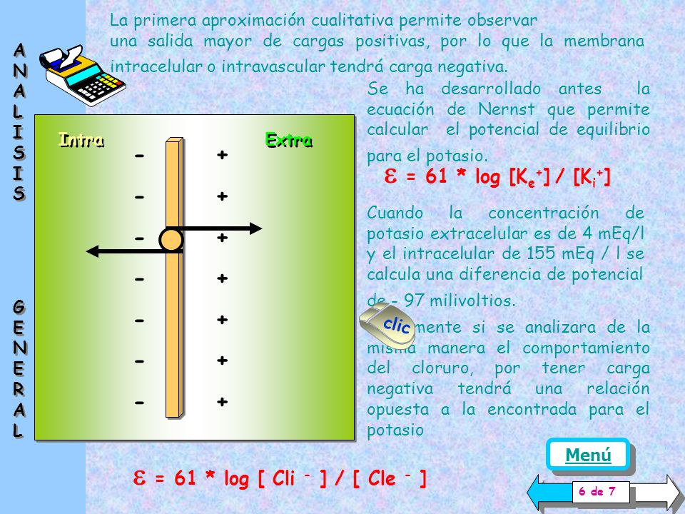 e = 61 * log [Ke+] / [Ki+] e = 61 * log [ Cli - ] / [ Cle - ] - +